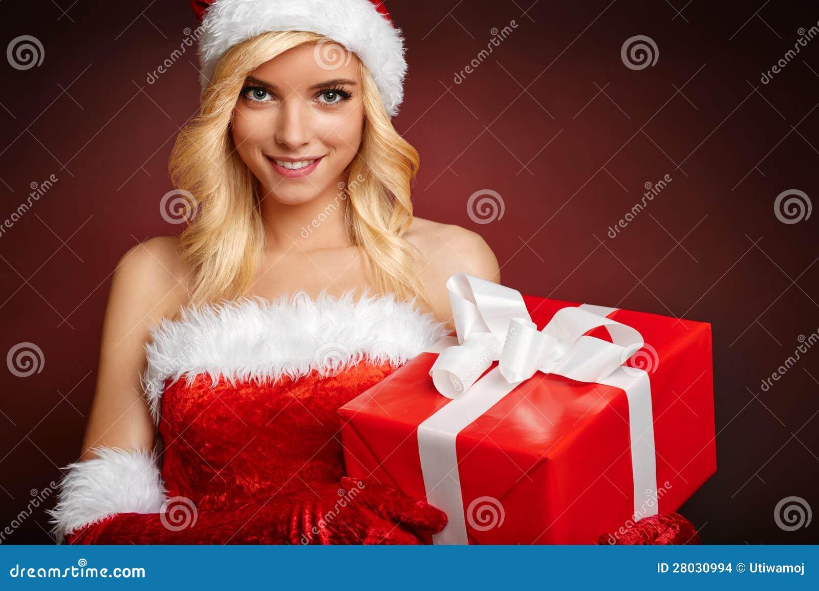 Image De Noel Fille.Belle Fille Portant Des Vetements Du Pere Noel Photo Stock