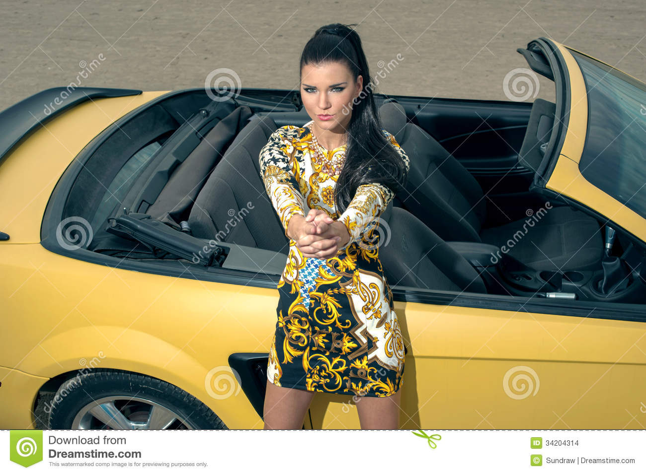 belle fille posant pr s de la voiture de sport images stock image 34204314. Black Bedroom Furniture Sets. Home Design Ideas