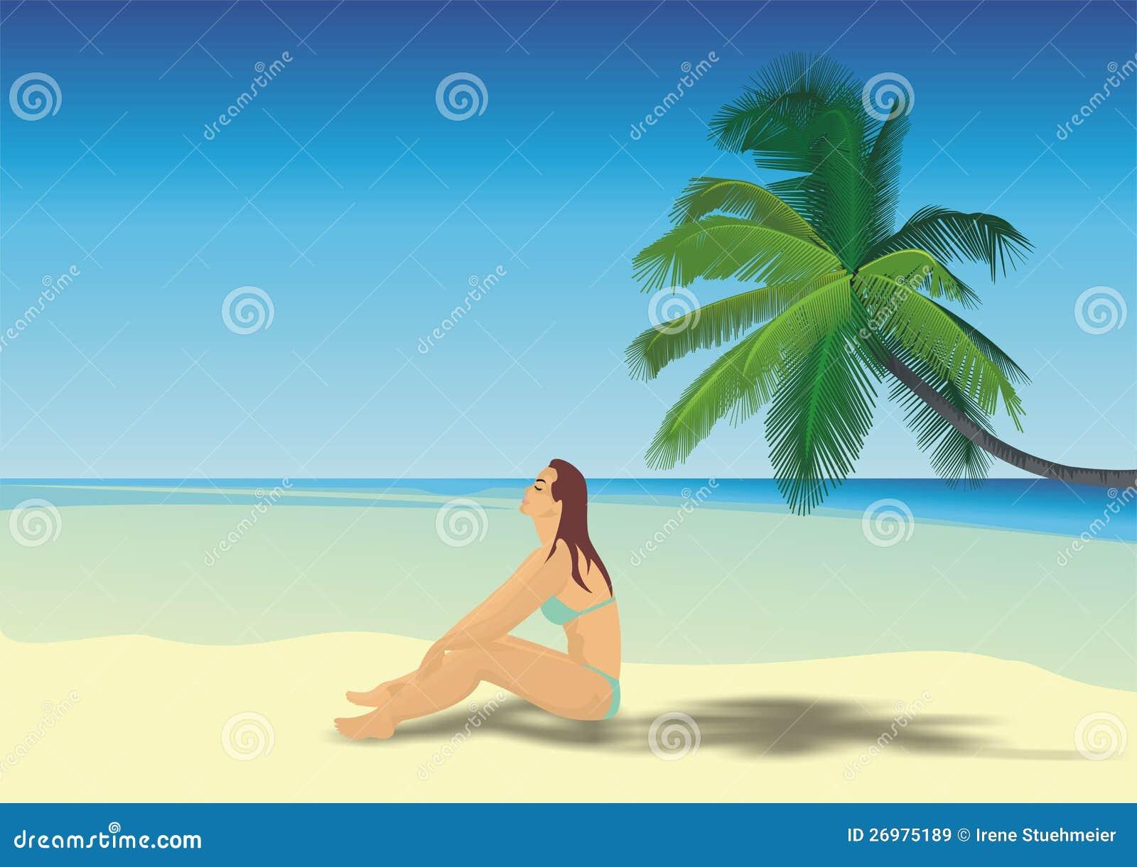 Belle fille sur une plage
