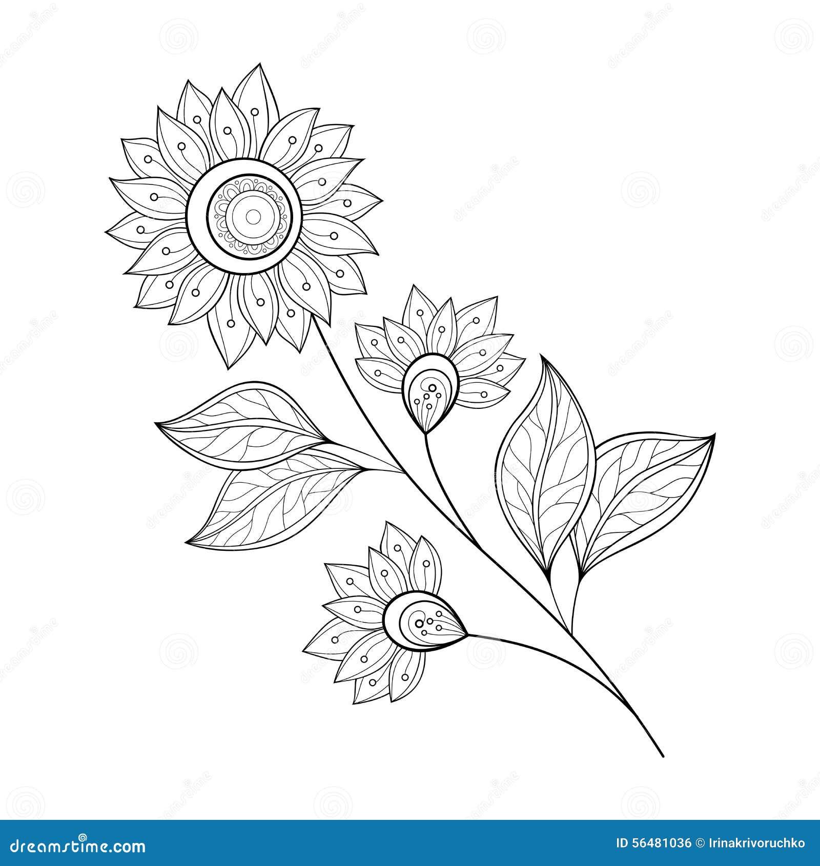 Belle fleur monochrome de découpe de vecteur