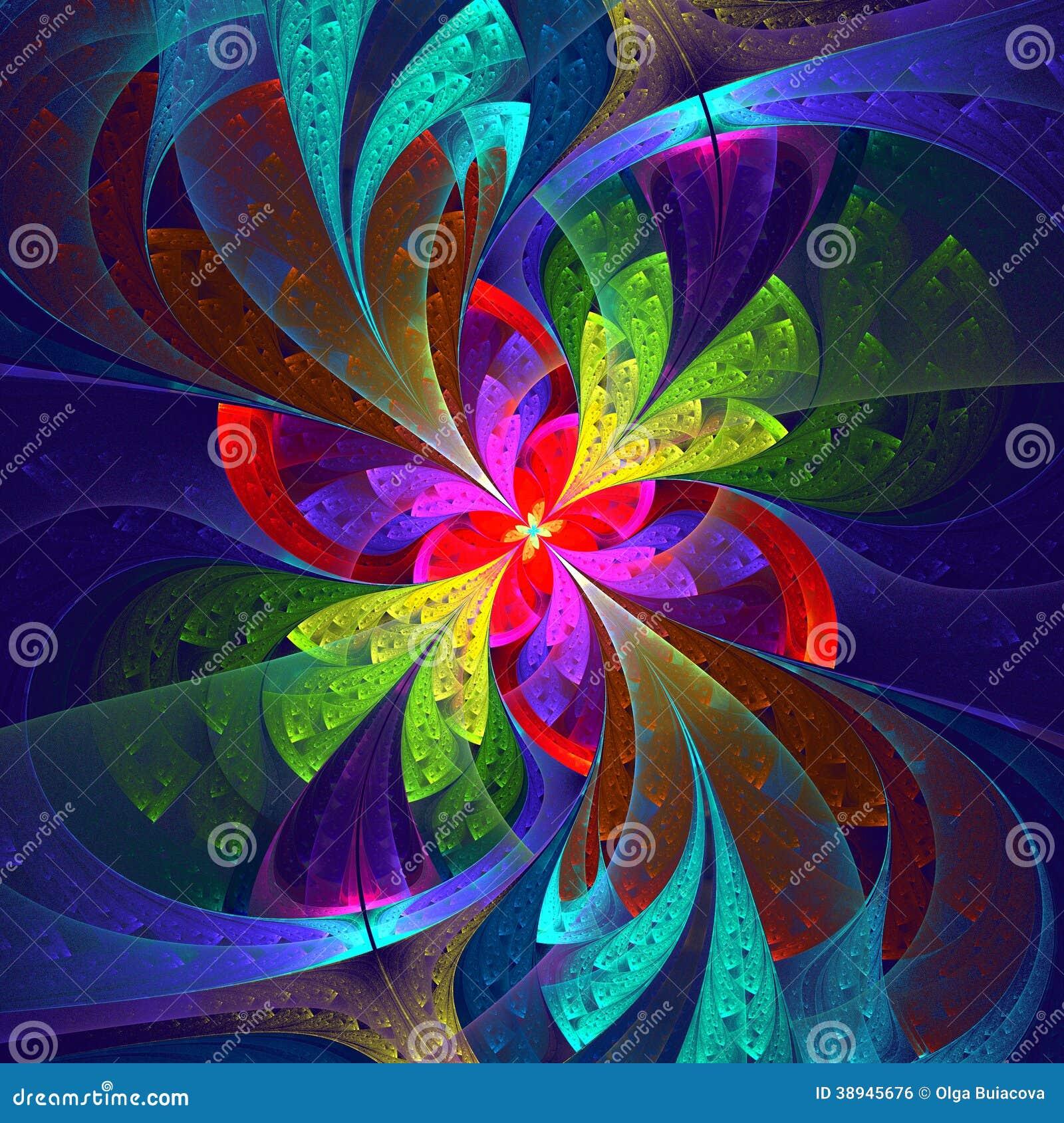 Belle fleur multicolore de fractale.