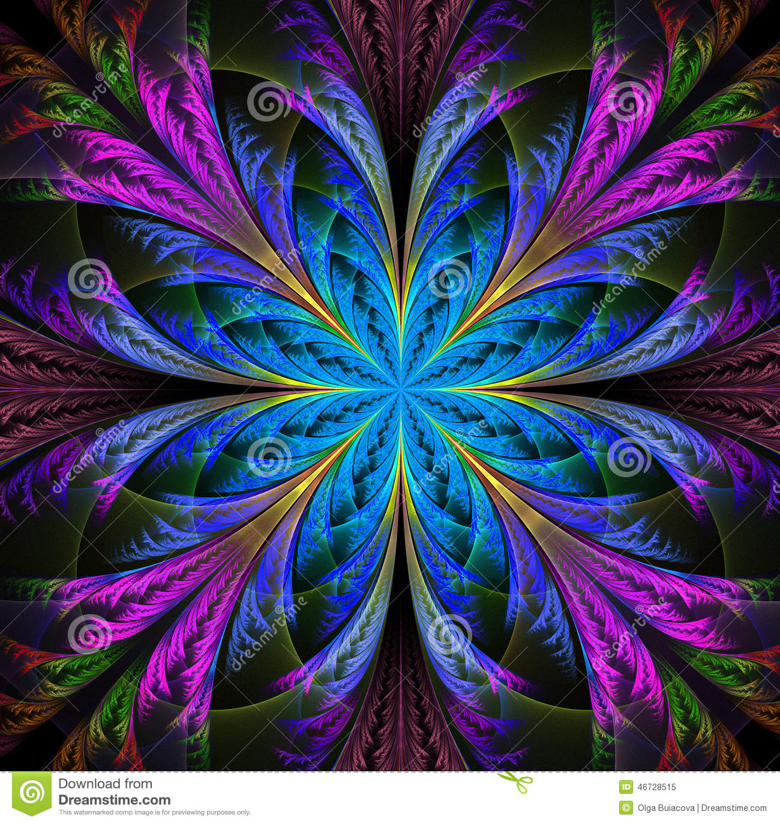 belle fleur multicolore de fractale collection - modèle givré