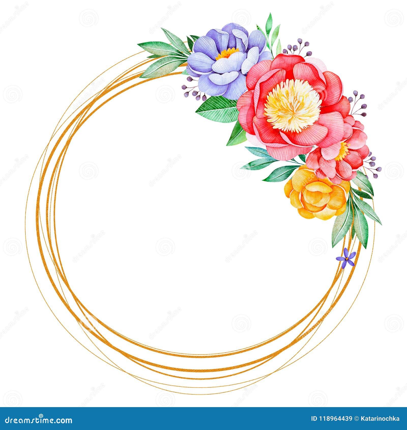 Belle guirlande avec la pivoine, la rose, les feuilles, les fleurs, les branches et les baies