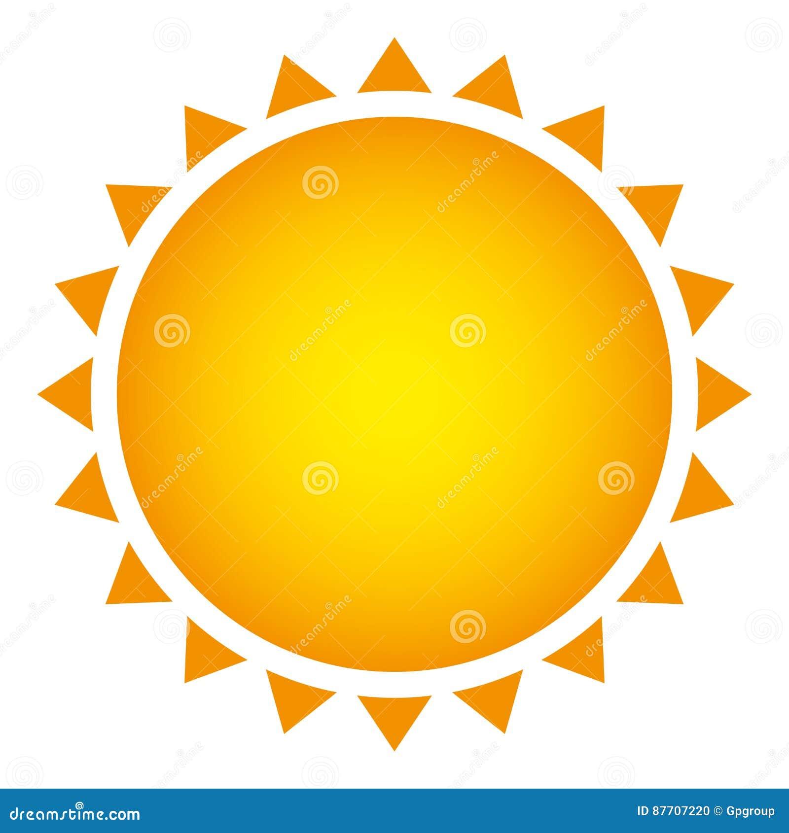 Belle icône jaune d abrégé sur le soleil