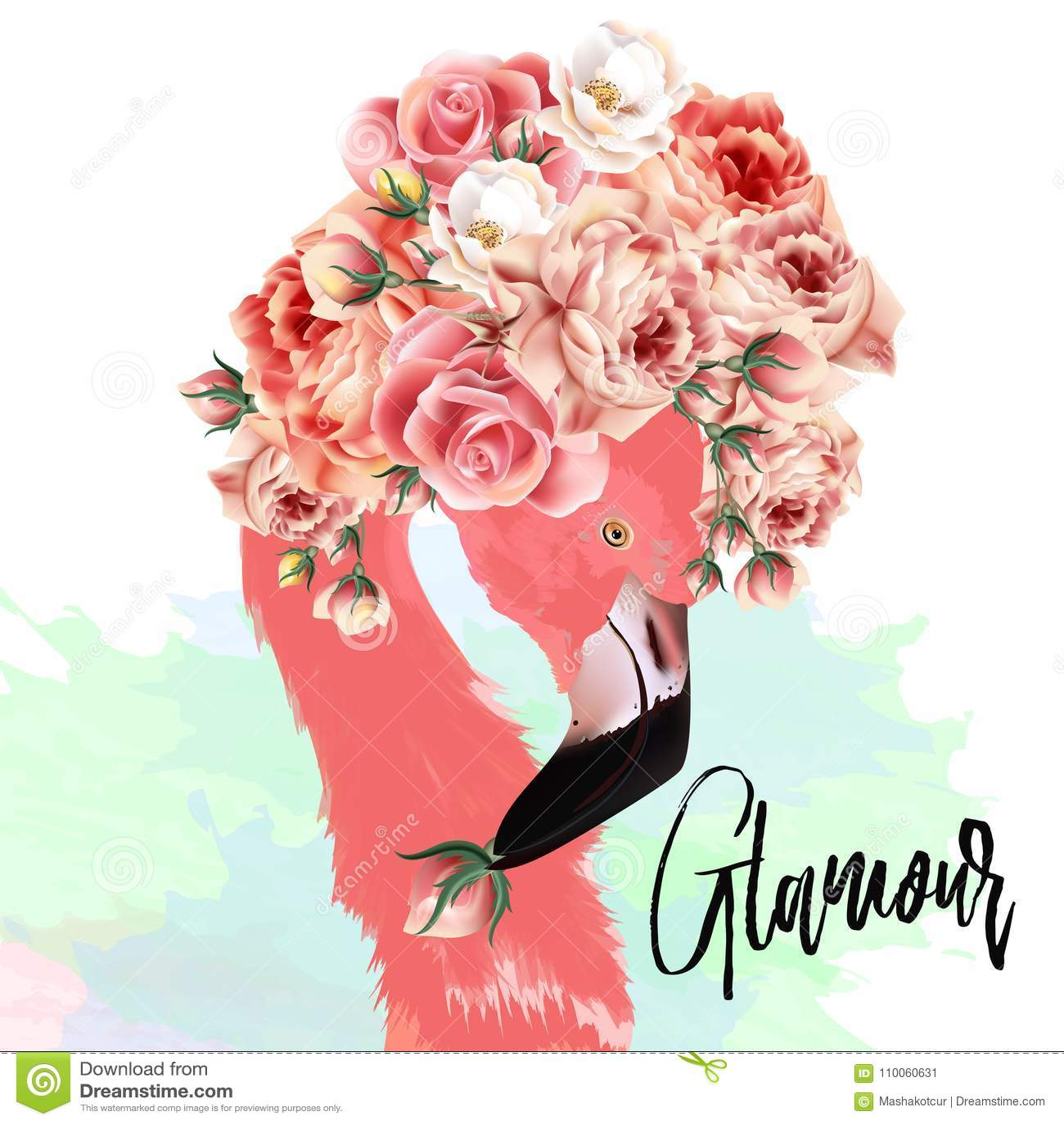 Belle illustration de vecteur de mode avec le flamant rose et le ROS