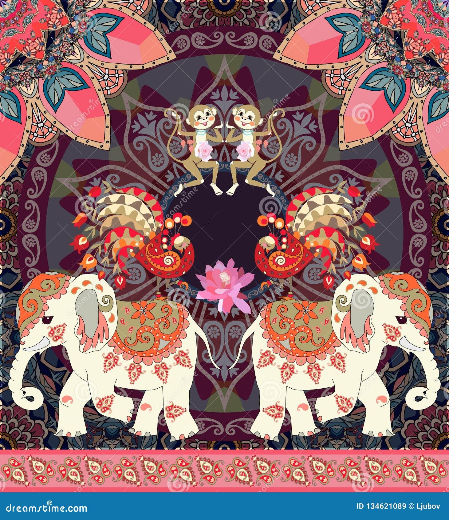 Belle illustration de vecteur pour l enfant avec le singe gai, les éléphants mignons de bande dessinée, les paons féeriques et la