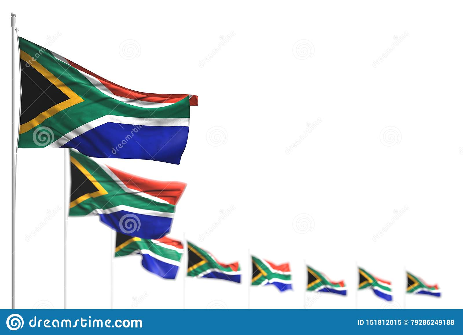 Belle illustration du drapeau 3d de Fête du travail - l Afrique du Sud a isolé des drapeaux a placé diagonal, l image avec le foy