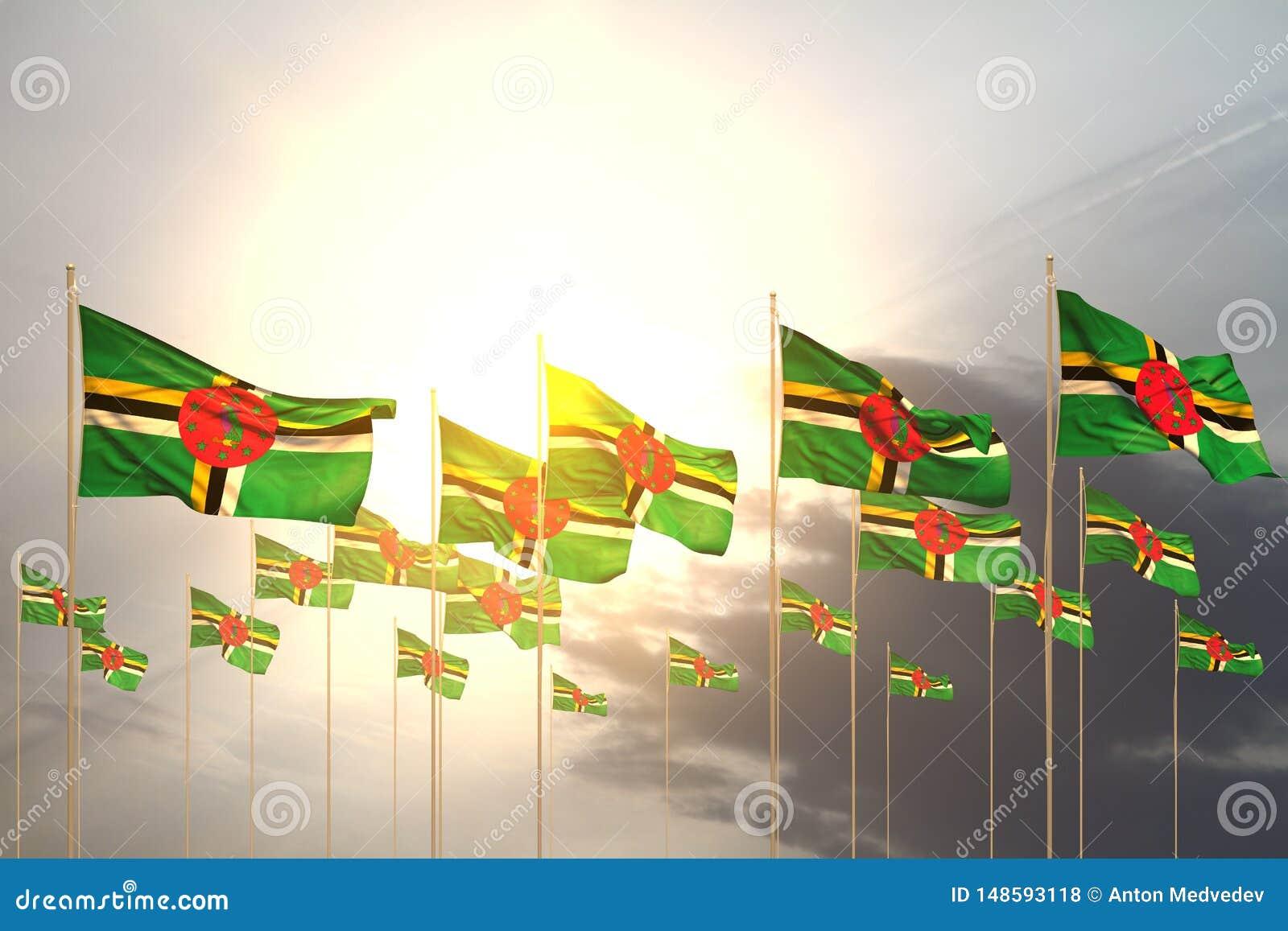 Belle illustration du drapeau 3d de Jour de la Déclaration d Indépendance - beaucoup de drapeaux de la Dominique dans une rangée