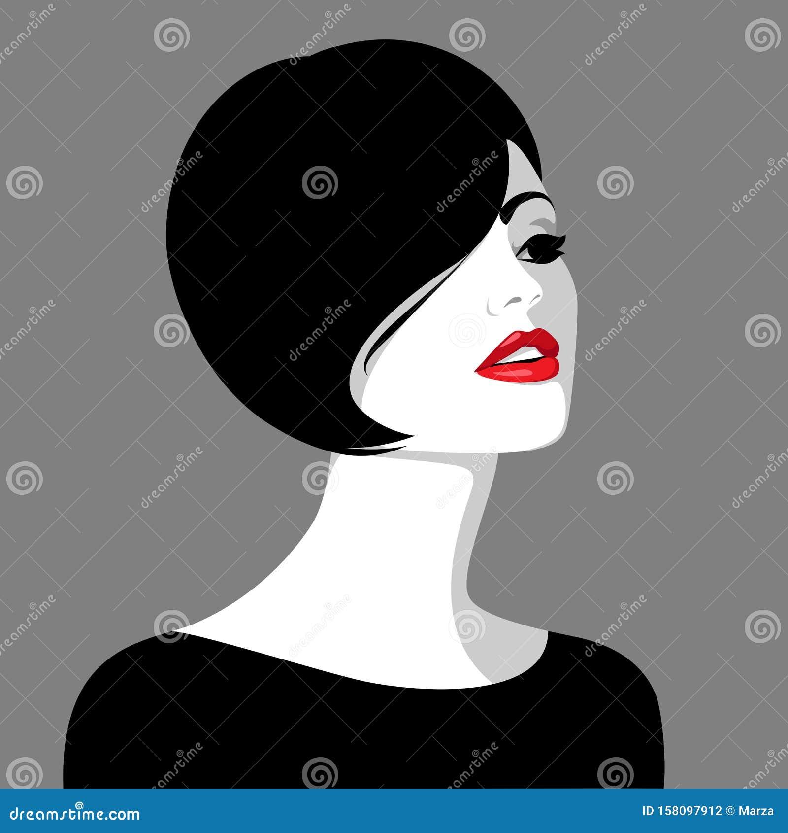 Belle Jeune Femme Aux Cheveux Noirs Illustration De Vecteur Illustration Du Belle Cheveux 158097912