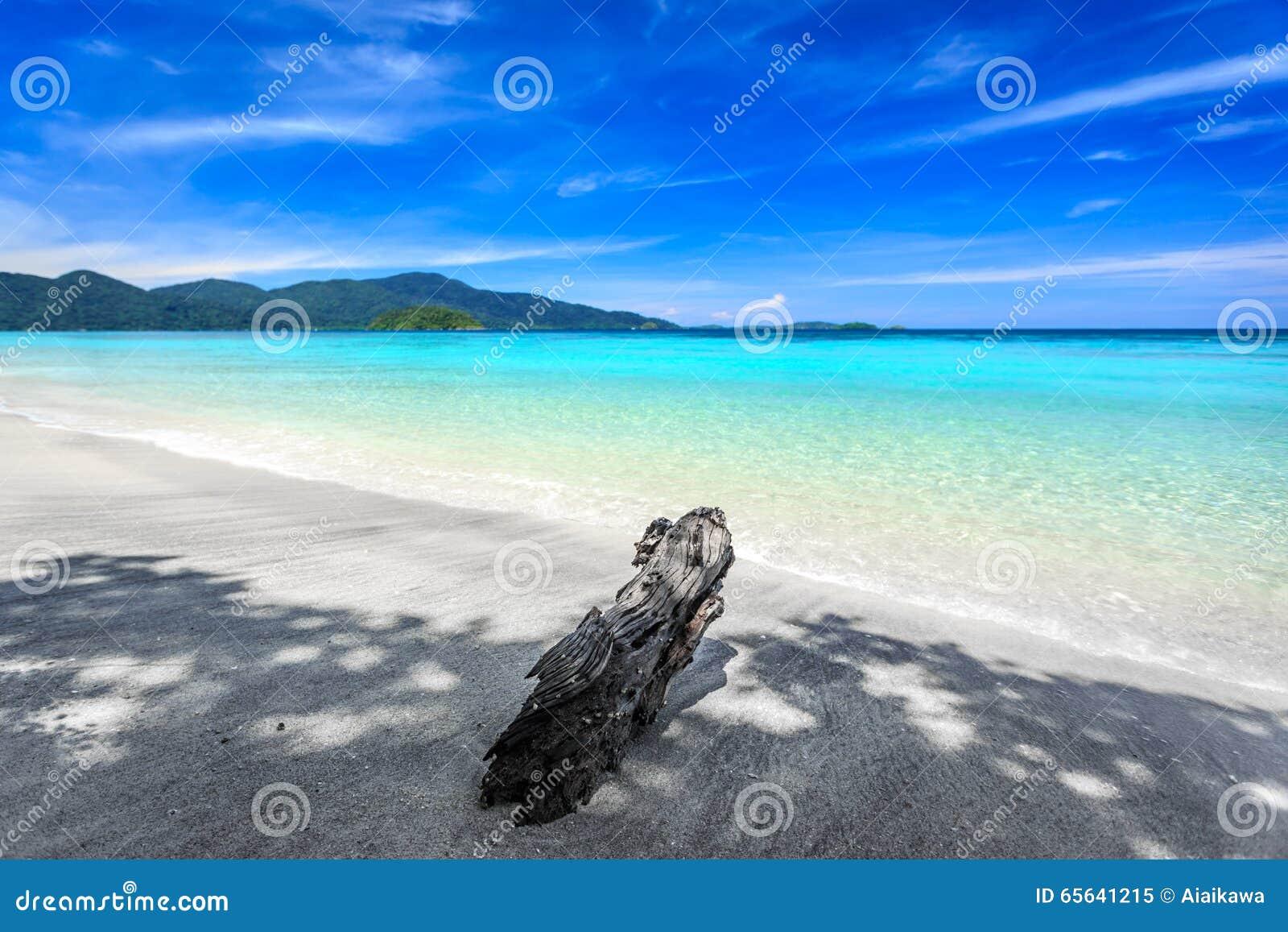 Belle mer et plage blanche de sable