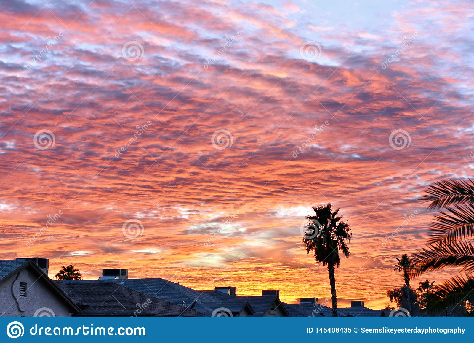 Belle orange et coucher du soleil rose de l Arizona