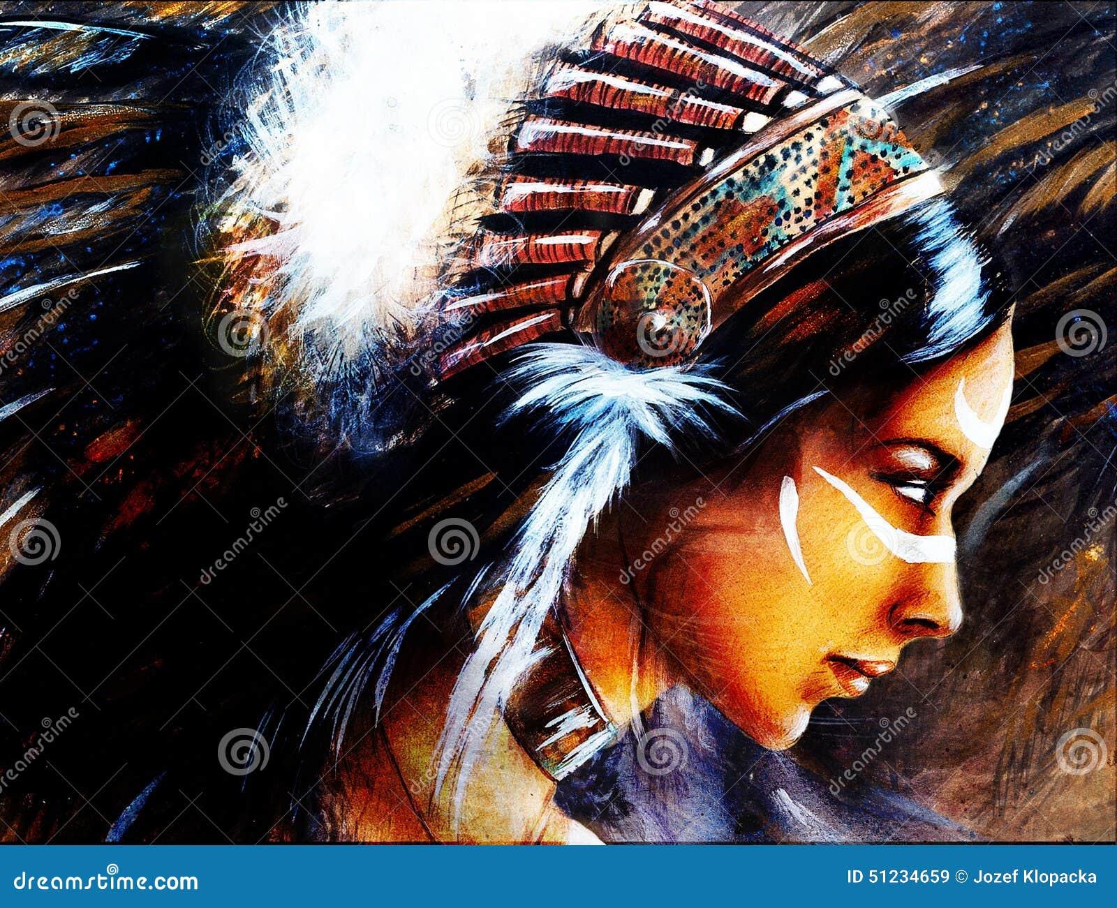 belle peinture d 39 aerographe d 39 une jeune femme indienne. Black Bedroom Furniture Sets. Home Design Ideas