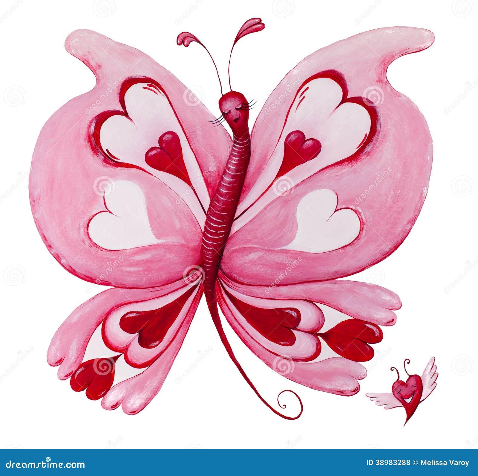 Belle peinture rouge de papillon de loveheart sur le blanc - Peinture rouge et blanc ...