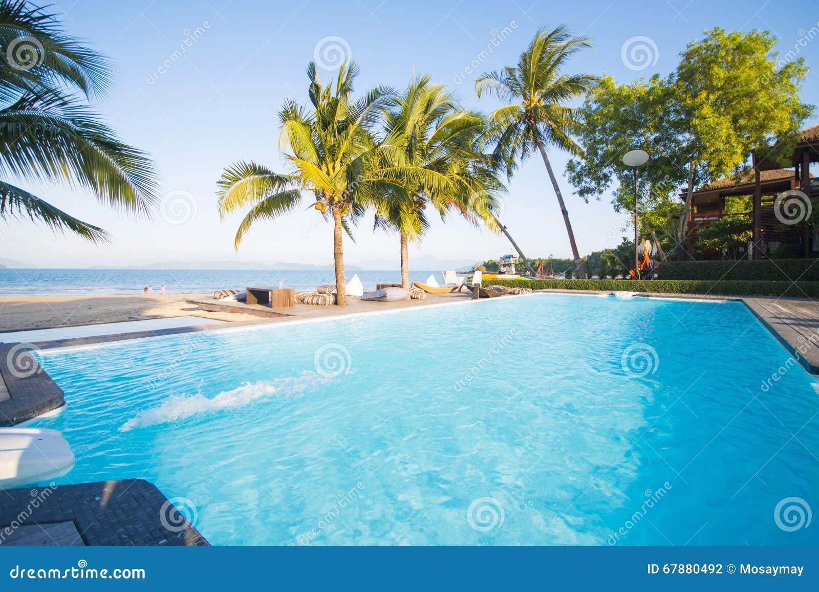Belle piscine avec la vue d océan