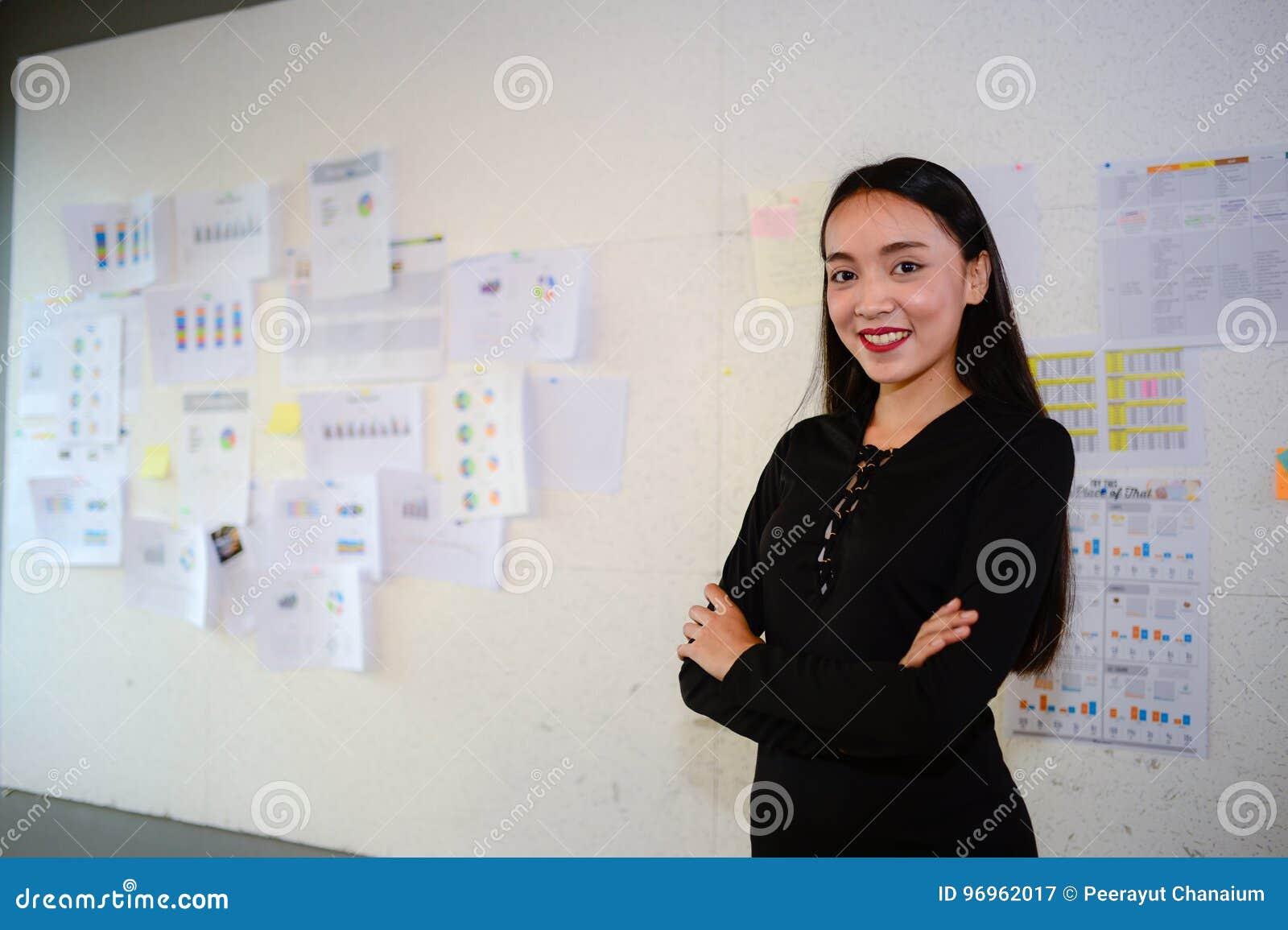 Belle robe asiatique sourire et support de noir d usage de femme