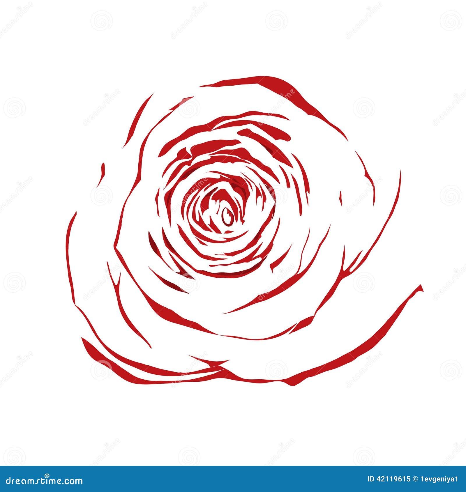 Belle rose abstraite de rouge de croquis d 39 isolement sur le fond blanc illustration stock - Dessin de rose rouge ...