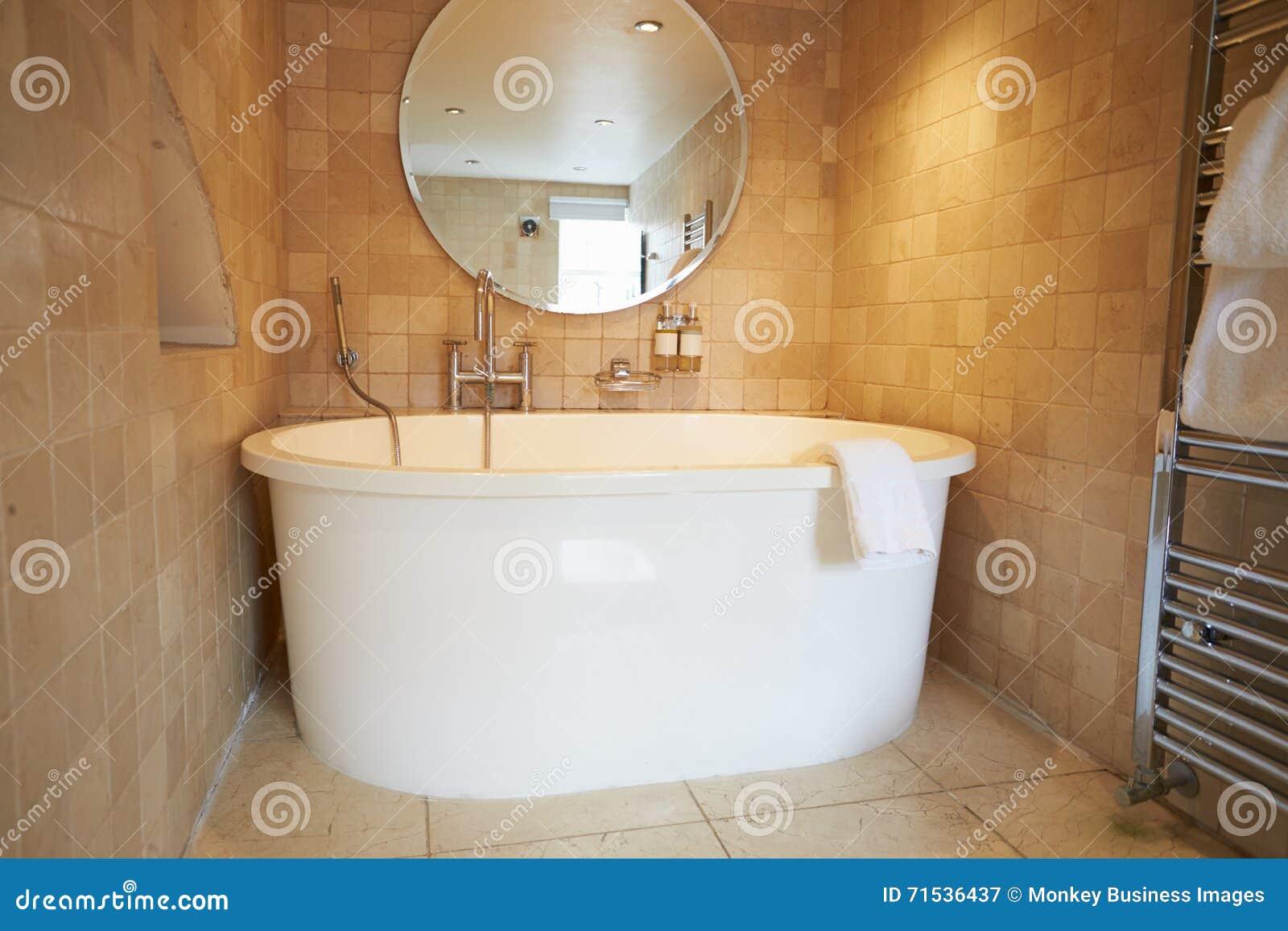 Belle Salle De Bains Avec Bath Debout Gratuit Et Douche Image stock ...