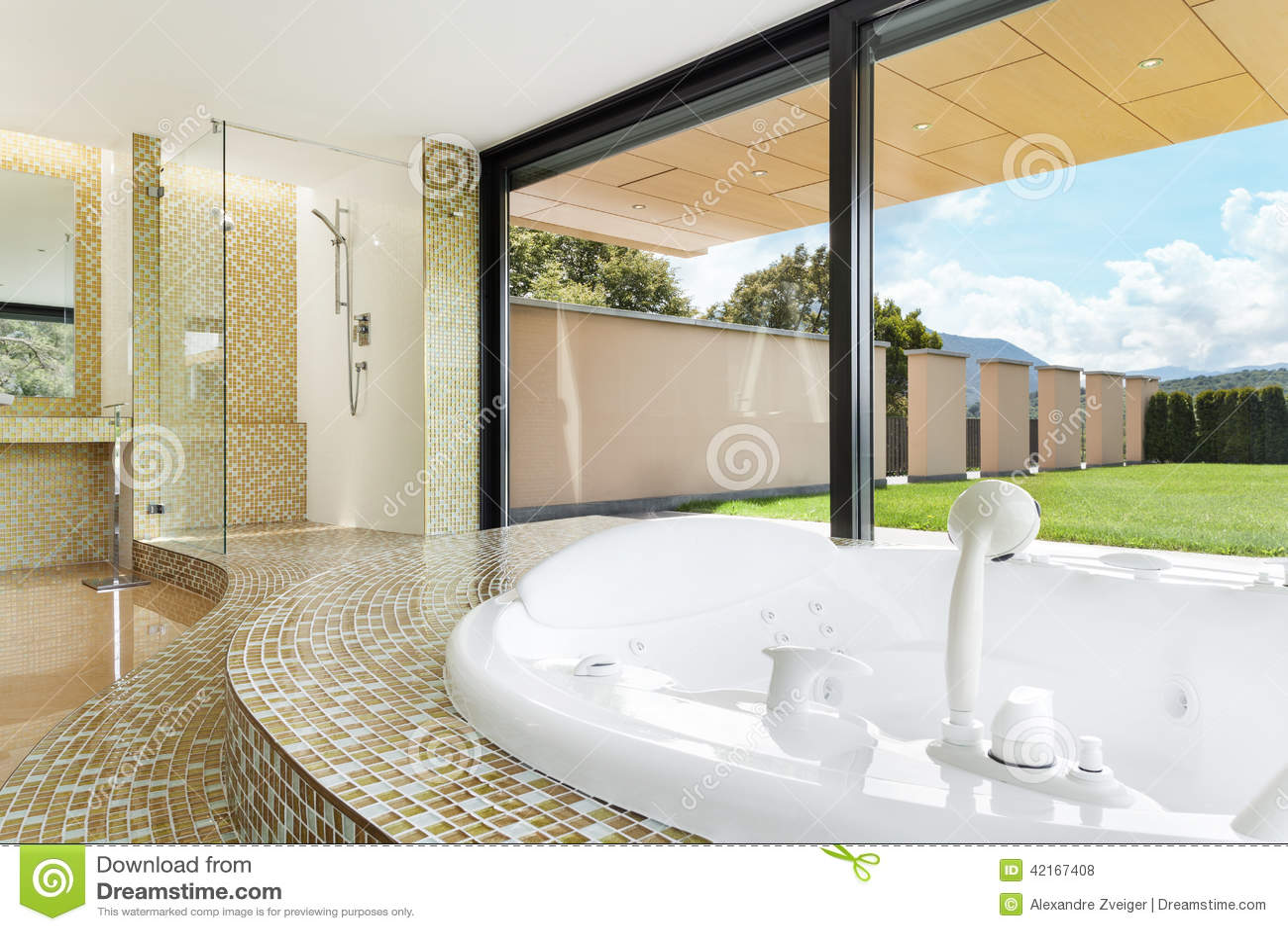 Belle salle de bains avec le jacuzzi photo stock image for Belle salle de bain photo