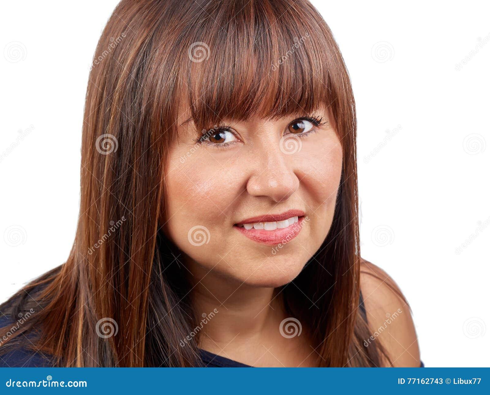 Belle verticale de femme de brunette d isolement