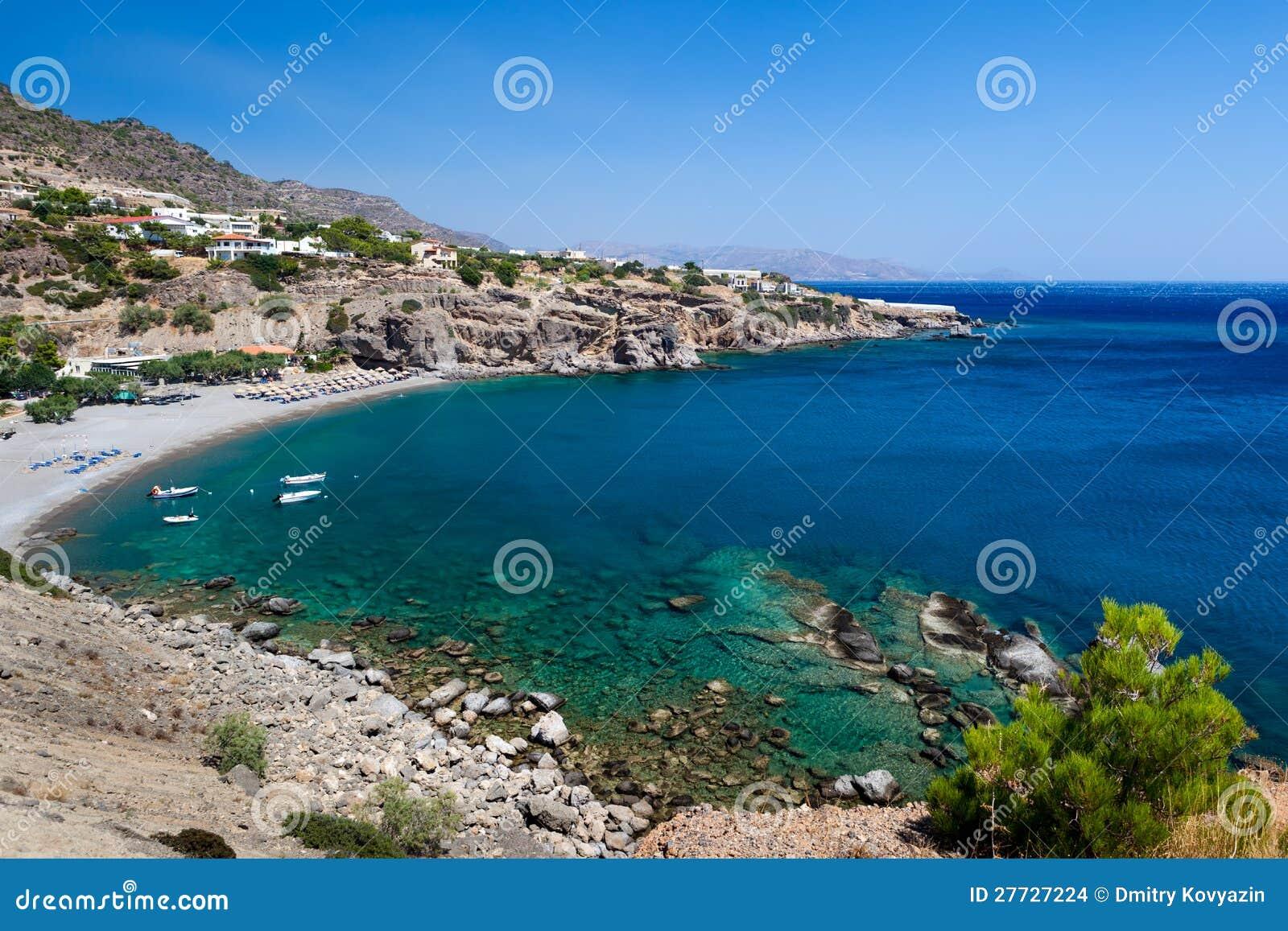 Bellen Sie mit einem Strand auf der Insel von Kreta