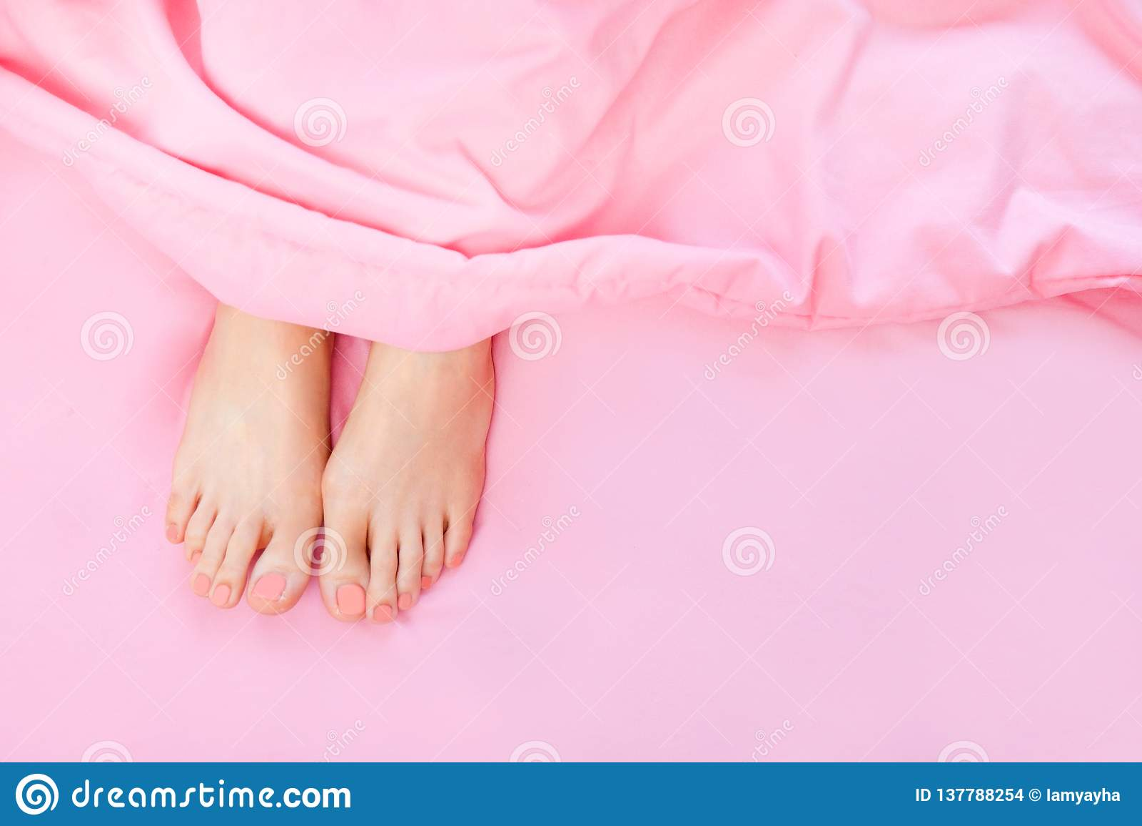 Belles jambes et pieds asiatiques de corps de jeune femme d isolement sur le fond rose en pastel de chambre à coucher Le pied fem
