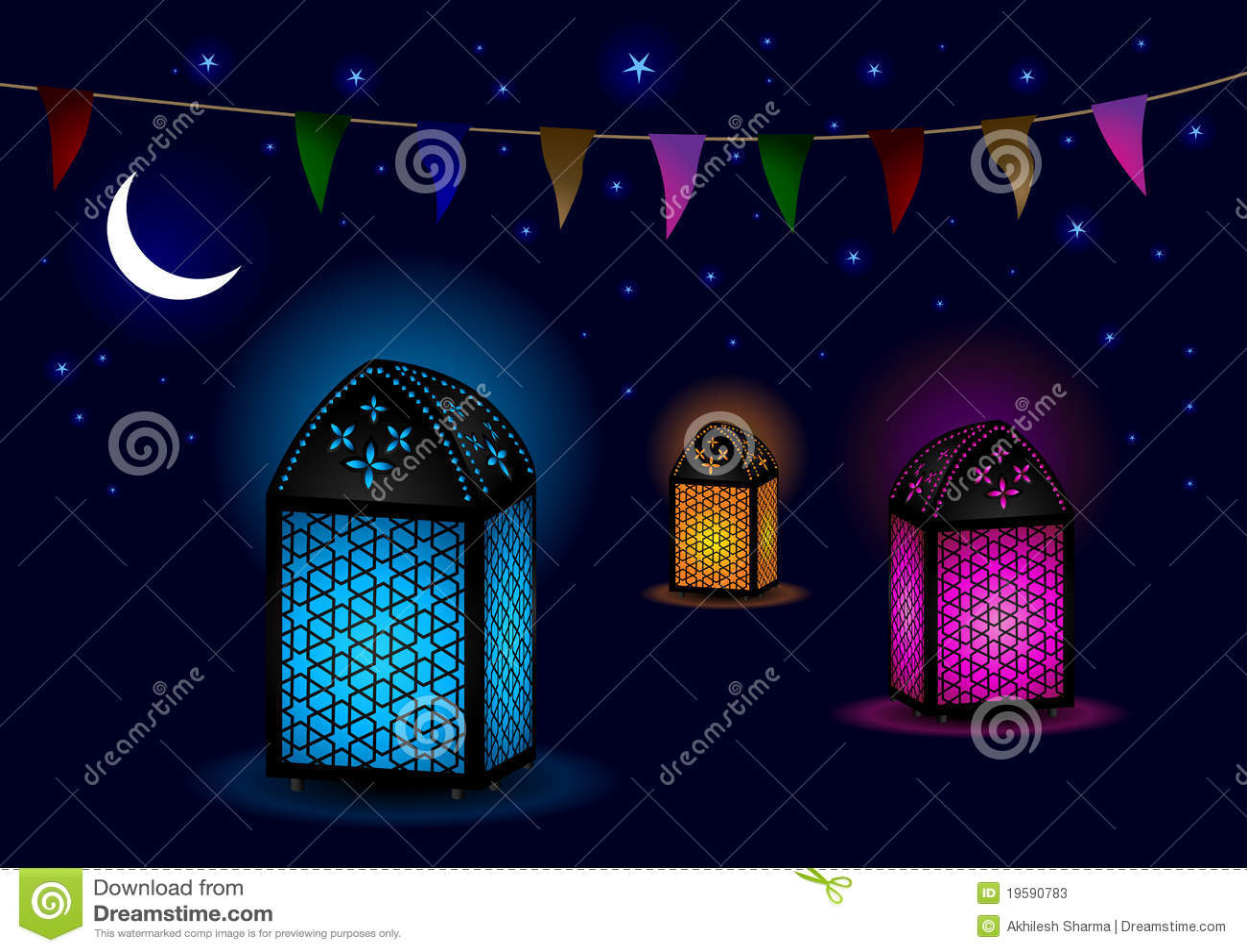 Belles lampes islamiques avec le croissant et les étoiles