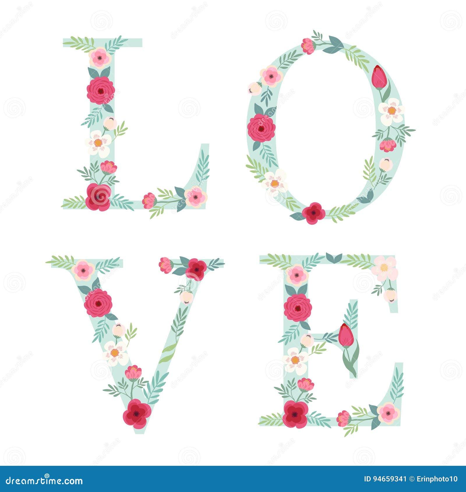 Belles Lettres Décorées Des Fleurs Rustiques Tirées Par La Main