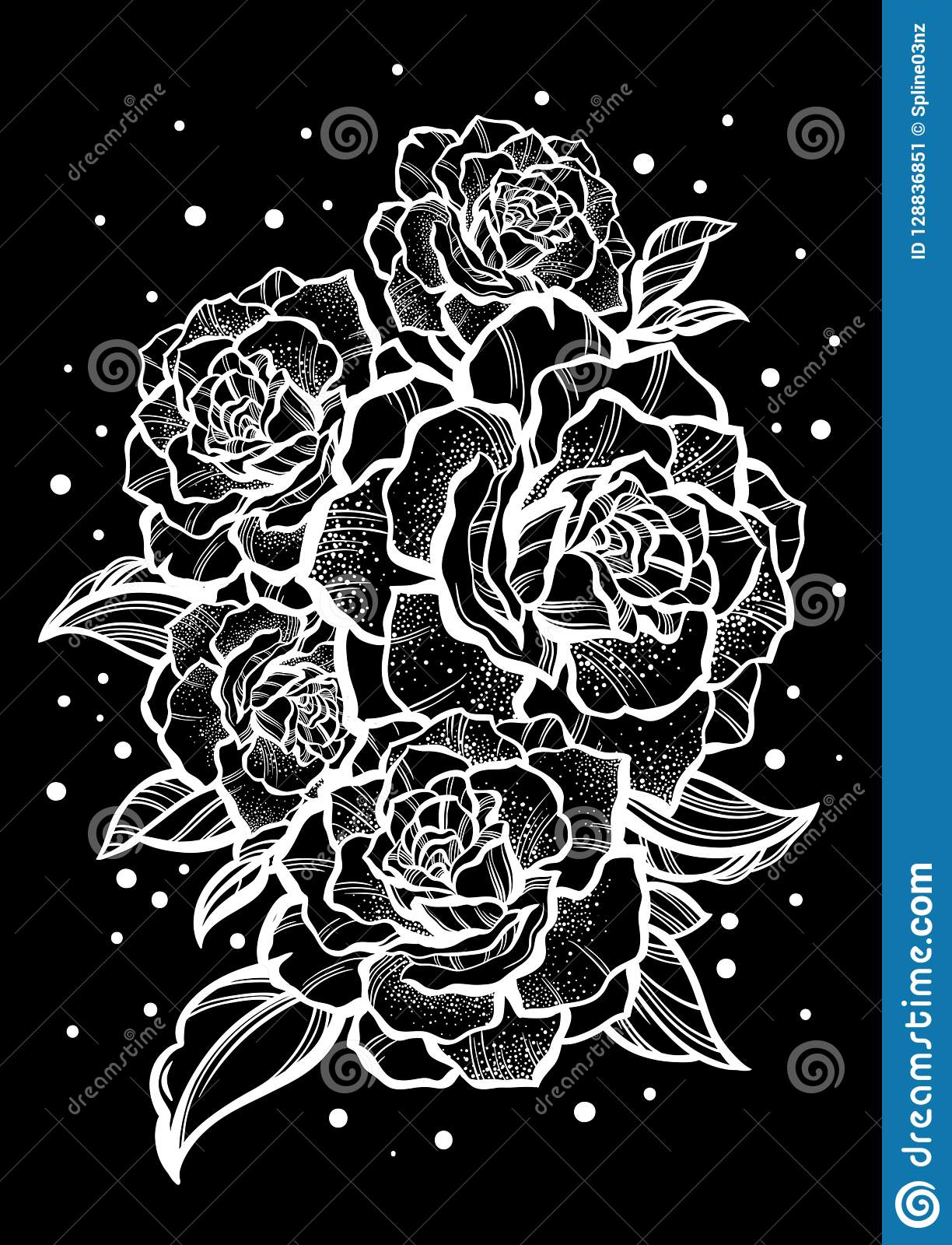 Belles roses tirées par la main Tatouage Art Composition graphique en vintage Illustration de vecteur d isolement T-shirts, copie
