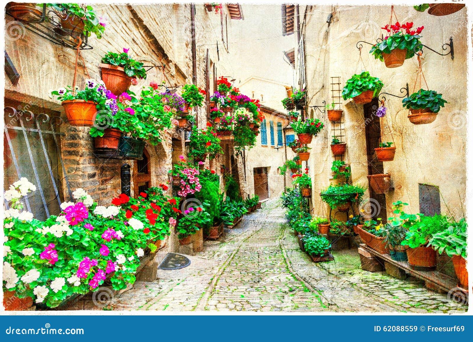 Belles rues florales de Spello, Italie