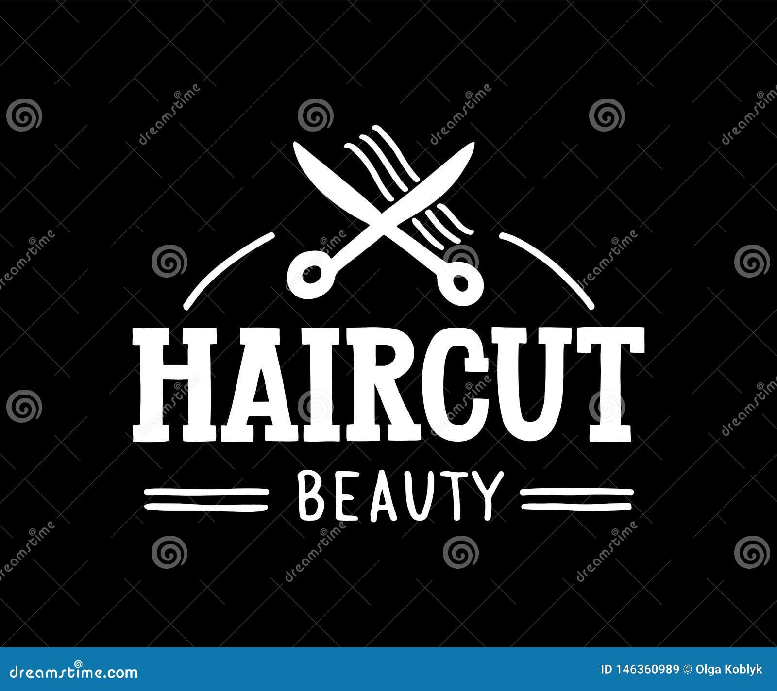 Belleza del corte de pelo - logotipo exhausto de la mano para el pelo y sal?n de belleza con las tijeras y los s?mbolos del pelo