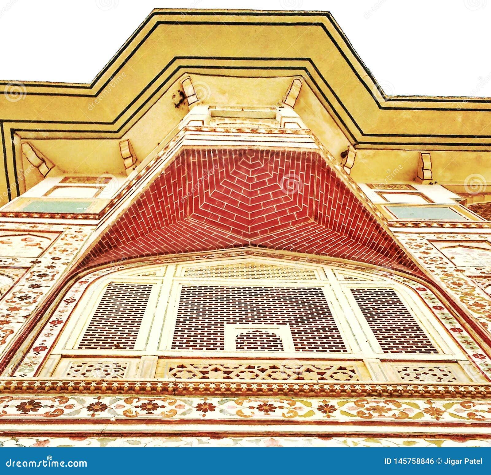 Belleza del palacio indio de la ciudad de la herencia, Jaipur