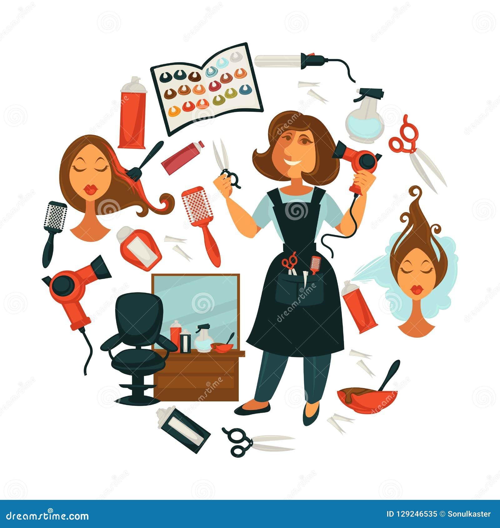 Belleza del pelo o cartel del salón del peluquero de la mujer para el teñido profesional del pelo,