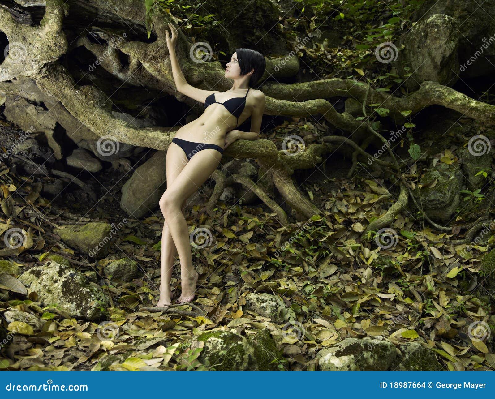 Belleza triguena joven en un bosque tropical