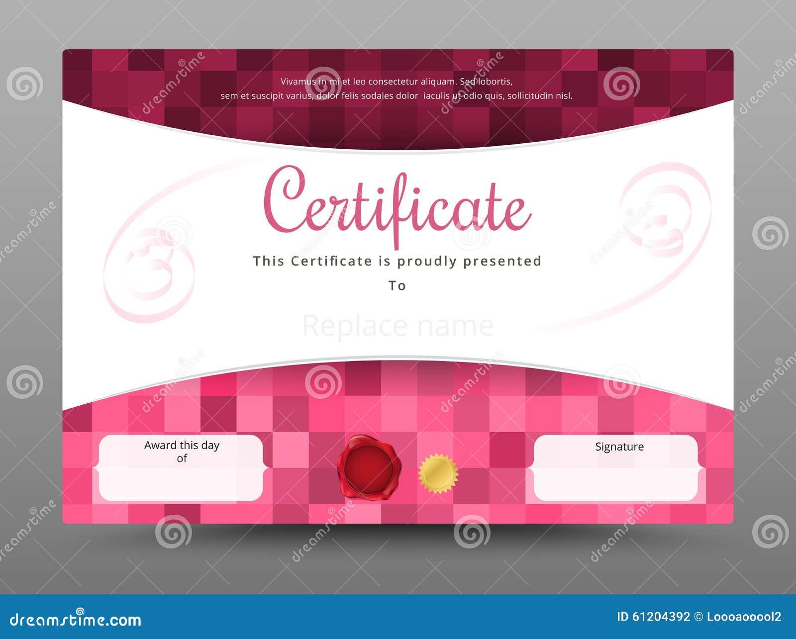 Belleza Y Plantilla Dulce Del Certificado Ilustración Del Vector ...