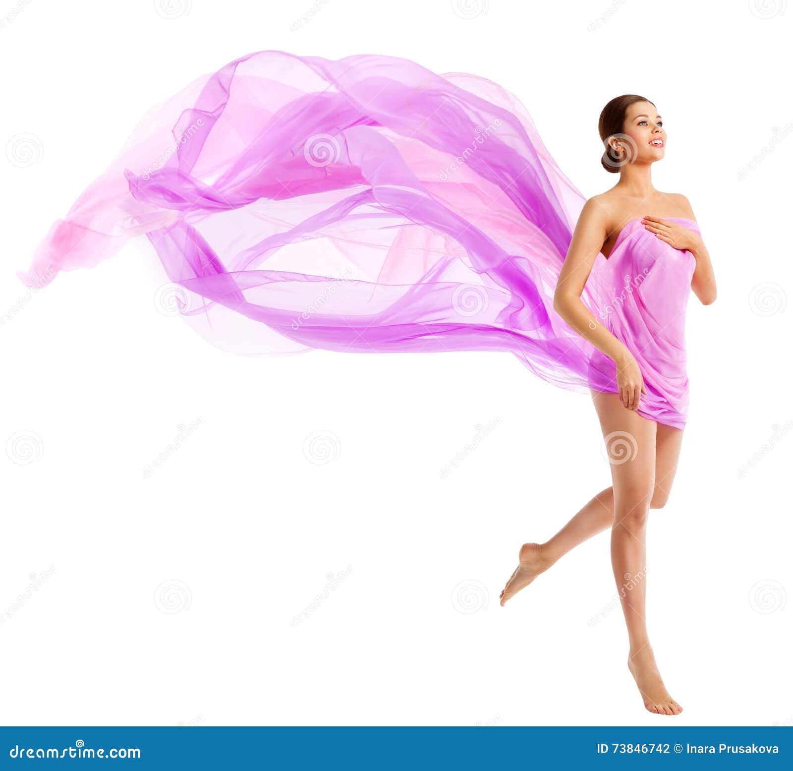 Bellezza del corpo della donna, modello di moda in panno d ondeggiamento del tessuto di seta