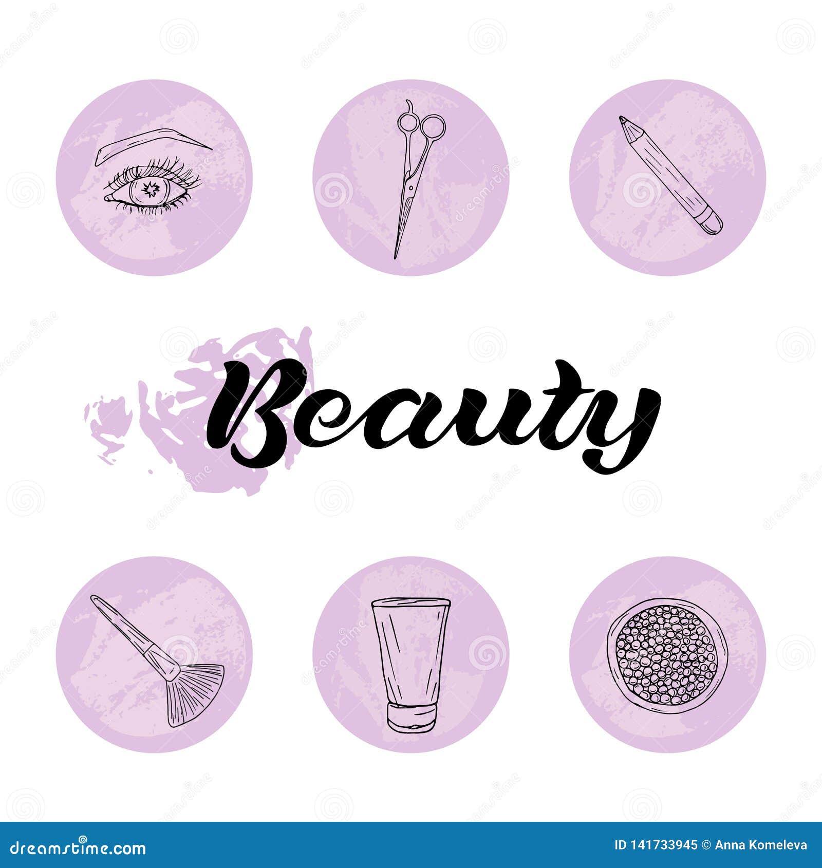 Bellezza ed insieme delle icone di cura del corpo