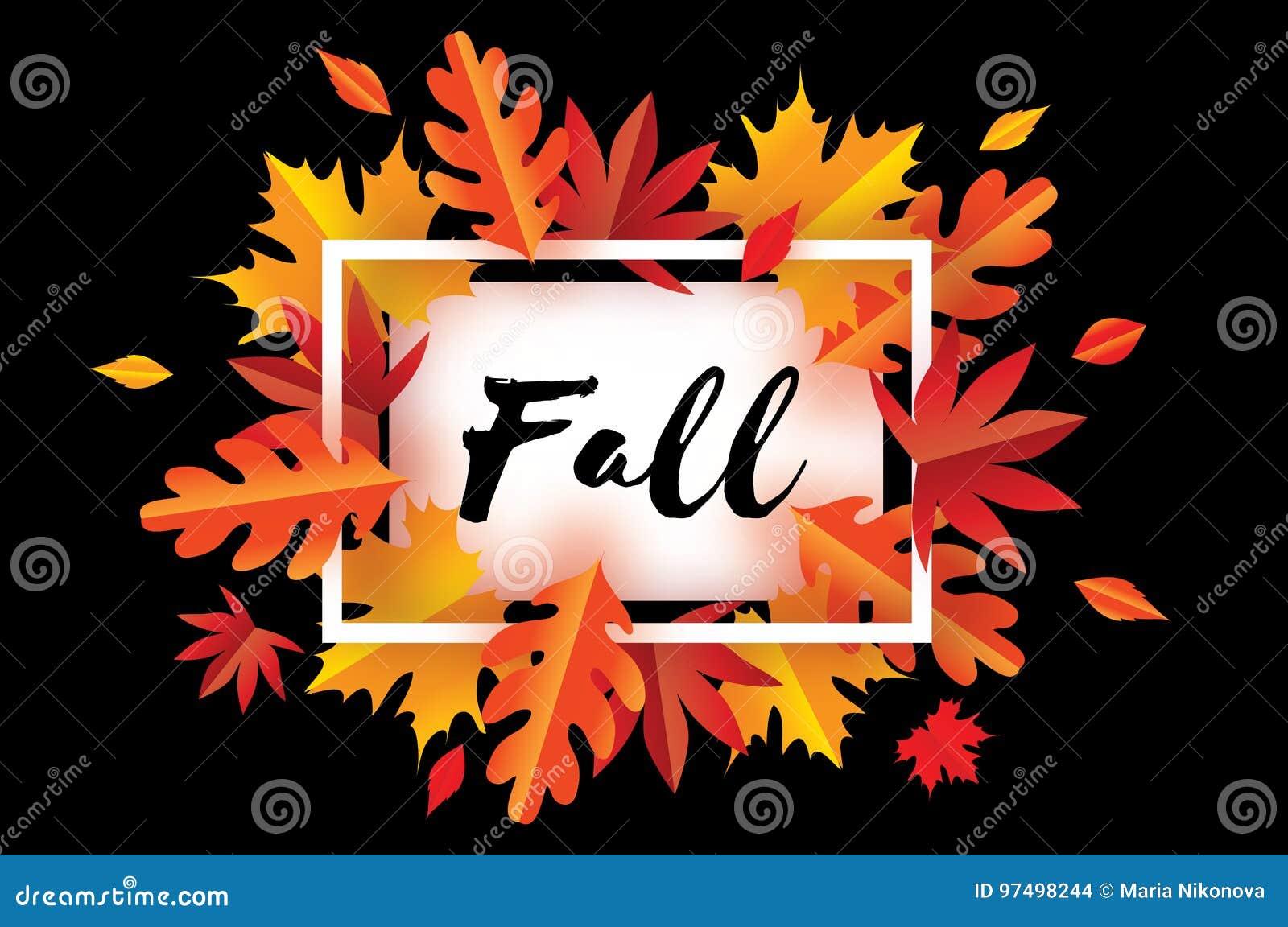 Bello Autumn Fall Paper Cut Leaves Ciao autunno Modello dell aletta di filatoio di settembre
