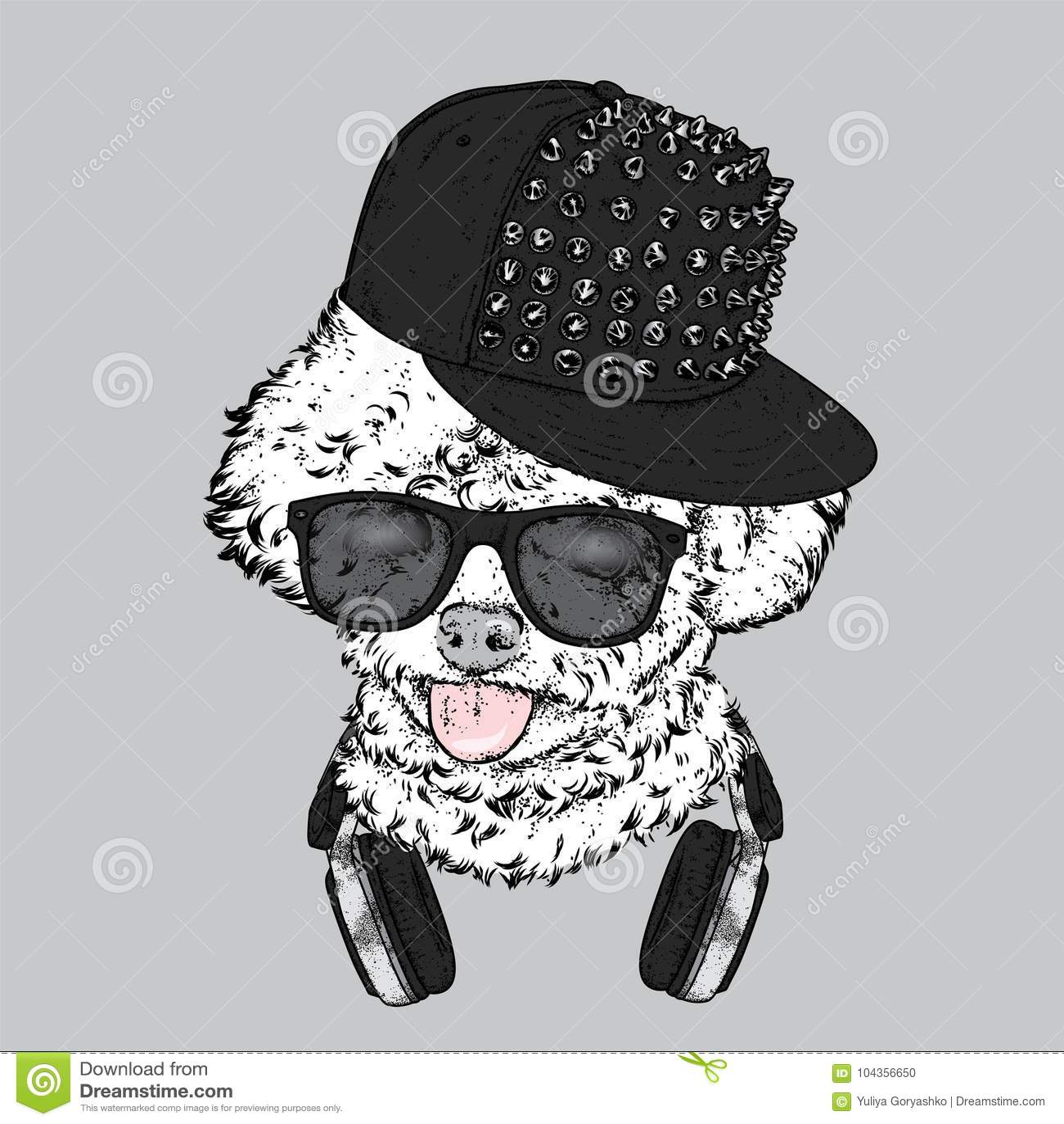 Bello barboncino in cuffie ed in un cappuccio con le punte Illustrazione di vettore Cucciolo alla moda del purosangue