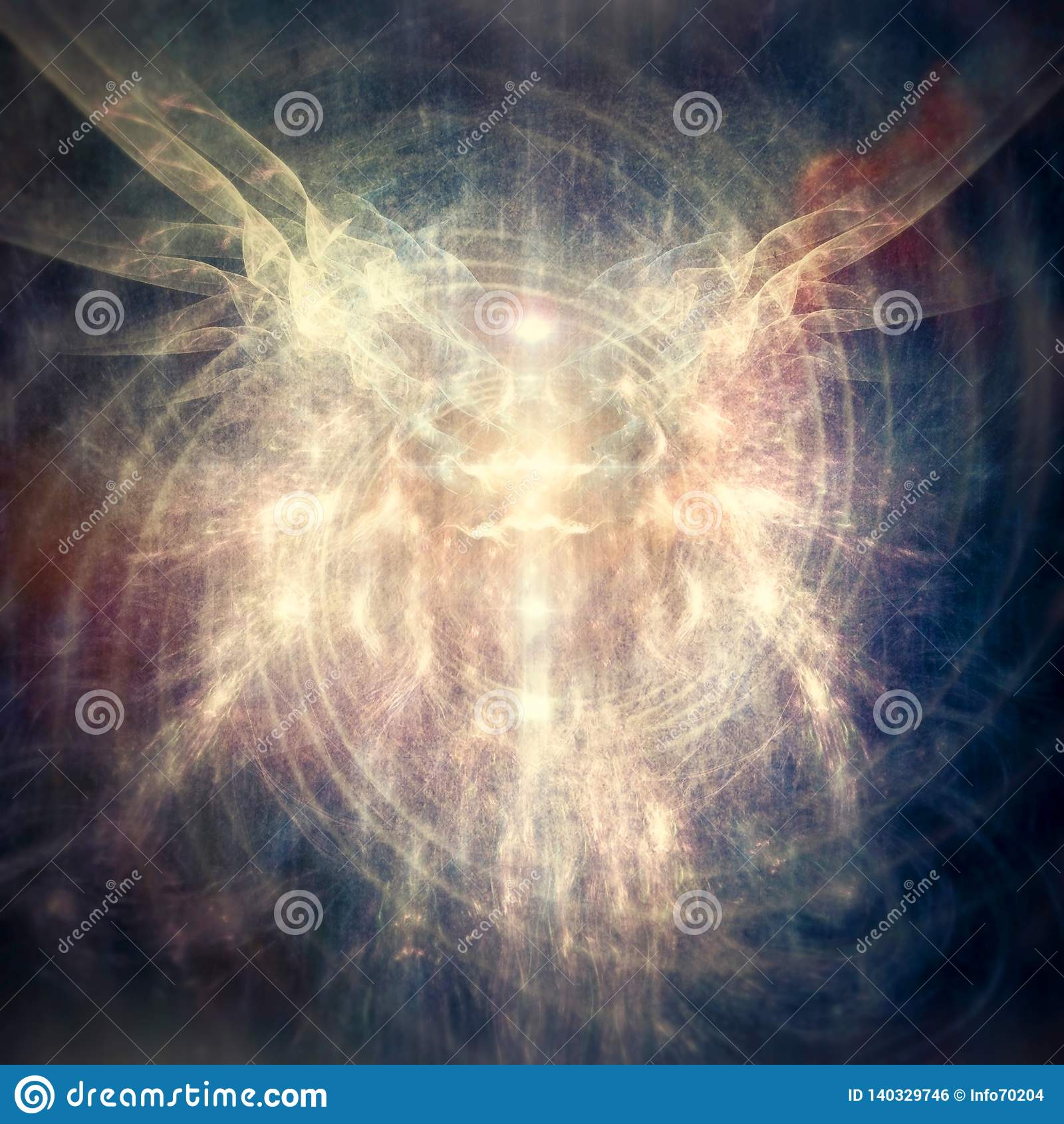 Bello estratto Angel Being Emanating Pastel Light etereo in una spirale