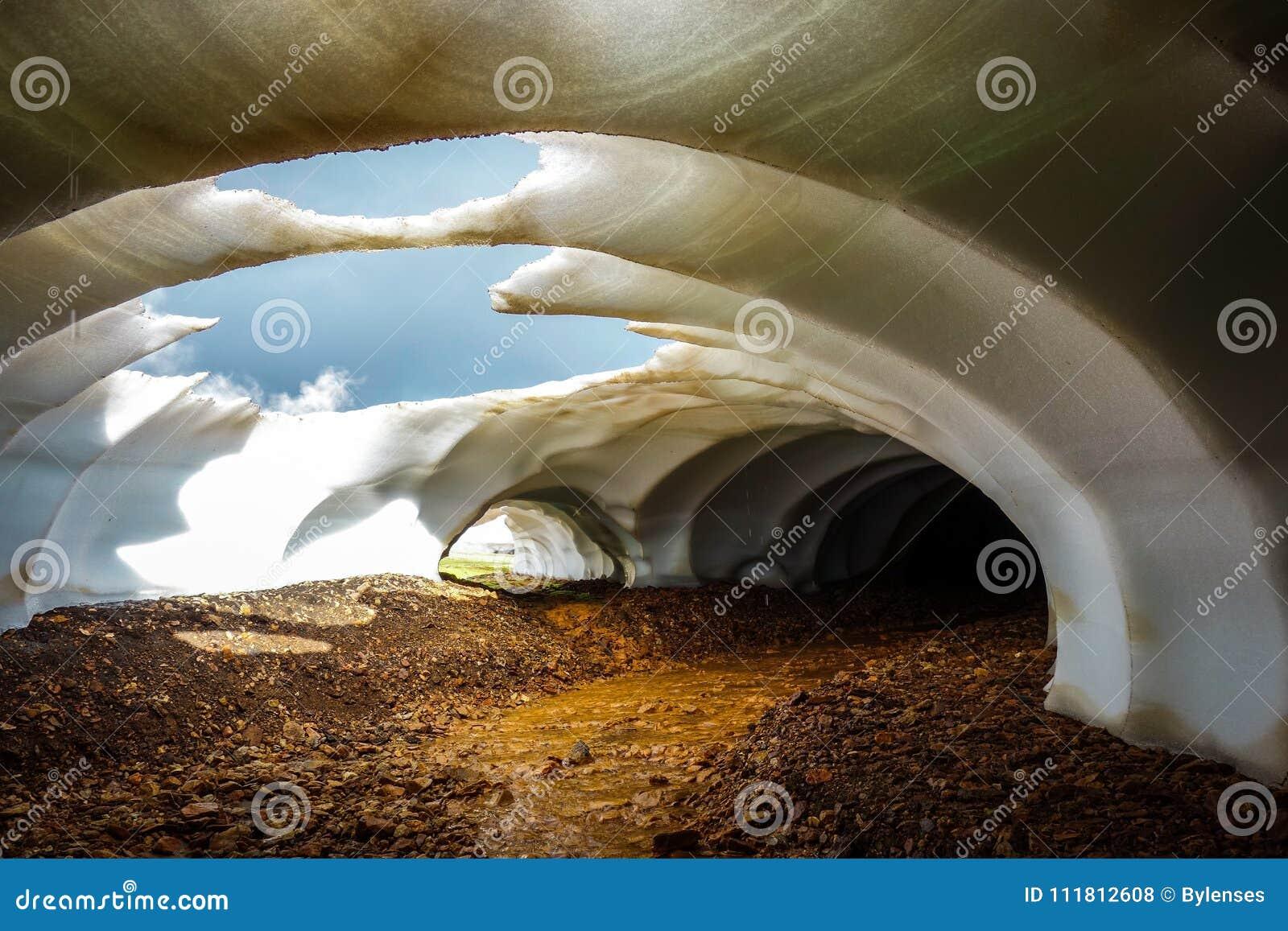 Bello fenomeno naturale in Landmannalaugar, Islanda Neve di fusione sopra il fiume scorrente Tunnel della neve