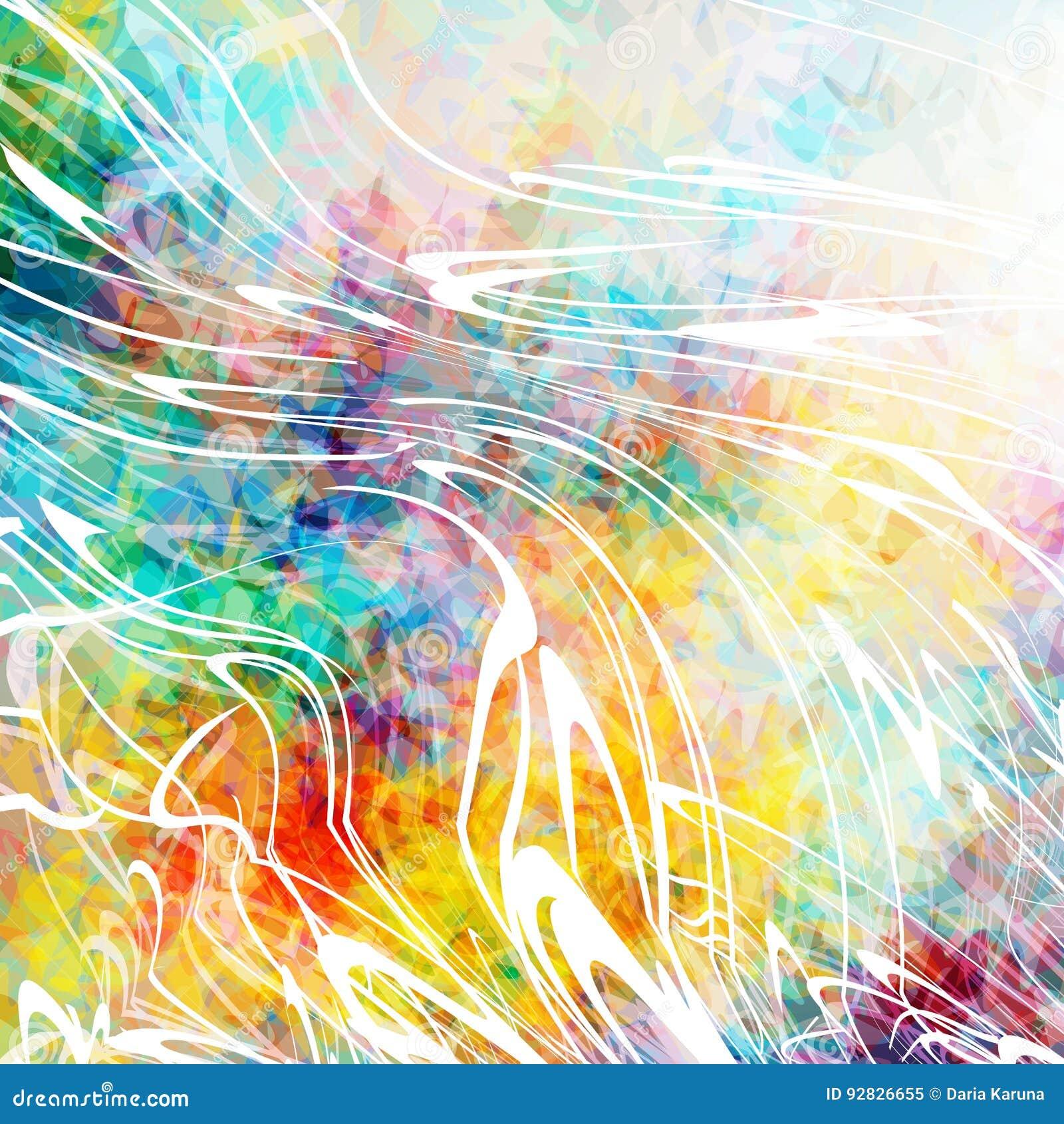 Bello fondo astratto con gli spruzzi di pittura bianca Struttura variopinta del grunge Punti di colore Linee distorte