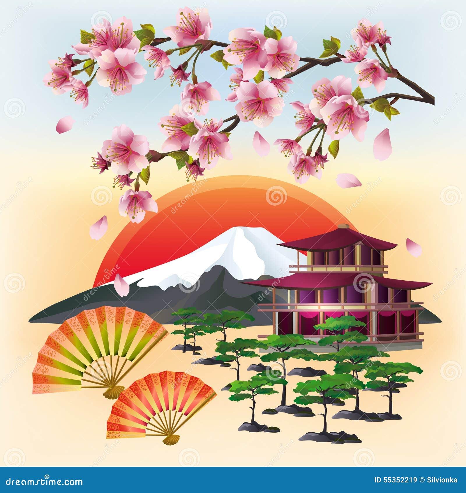 Bello fondo giapponese con sakura ed i fan