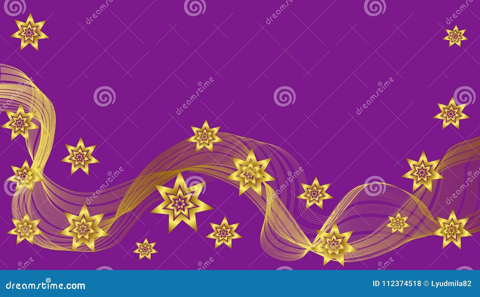 Bello fondo porpora con l onda e le stelle dell oro