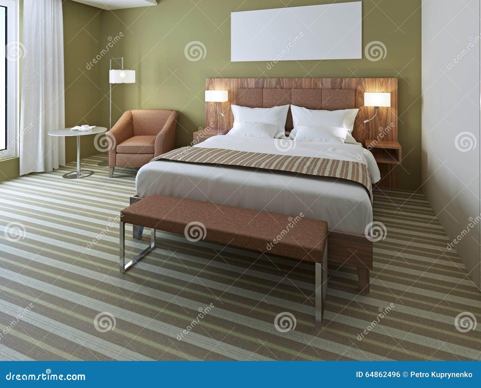 Bello letto matrimoniale in camera da letto verde oliva fotografia stock immagine 64862496 - Camera da letto verde mela ...