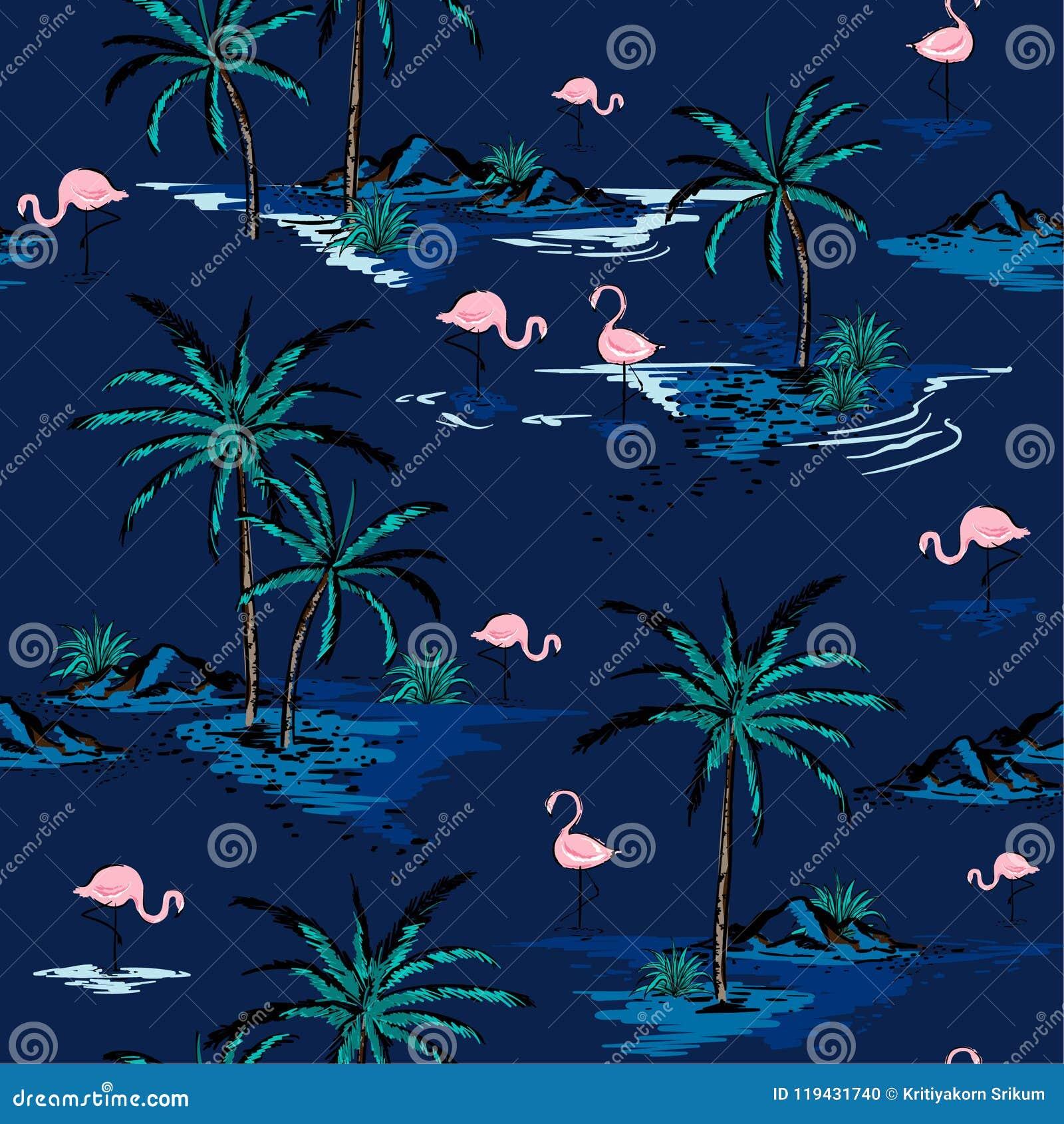 Bello modello senza cuciture dell isola di estate d avanguardia sul BAC profondo del blu