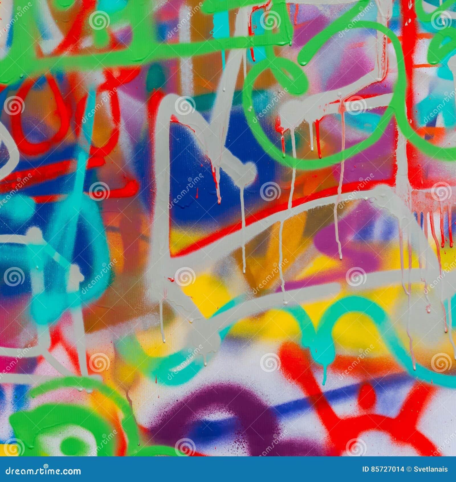 Glitter Sulla Parete : Bello primo piano dei graffiti di arte della via colori