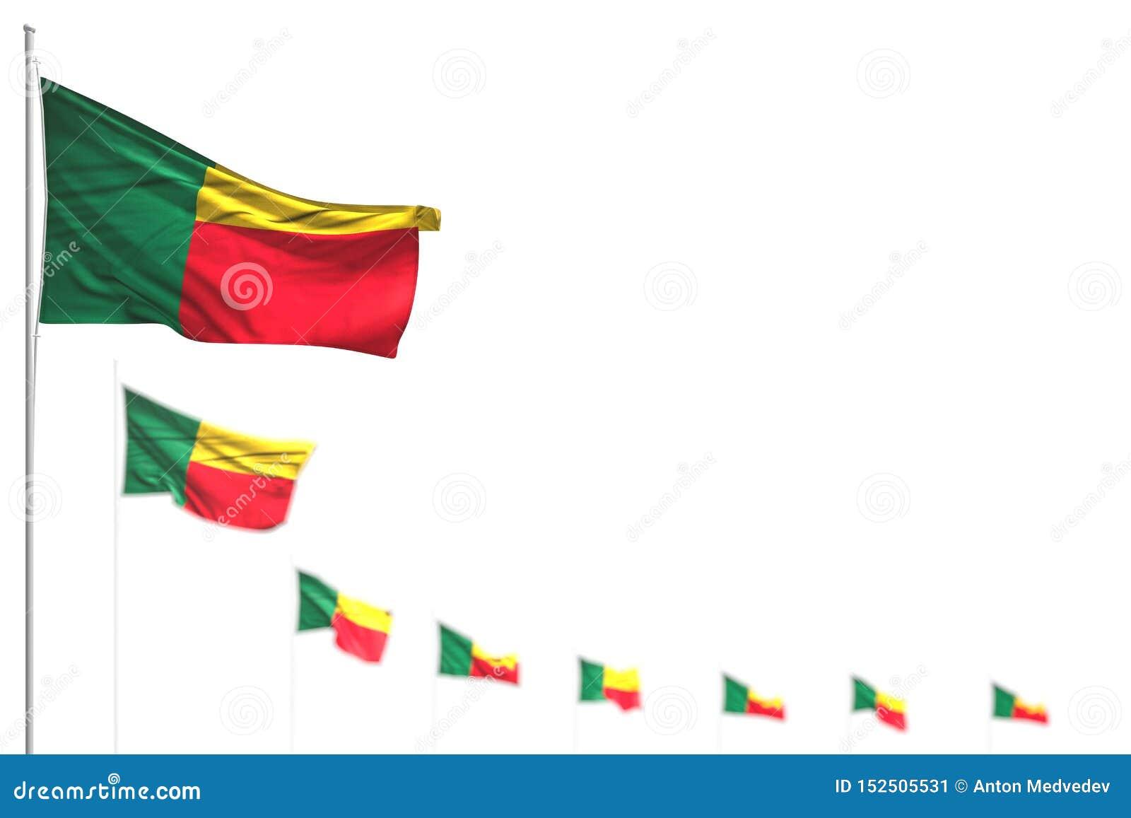 Bello qualsiasi illustrazione della bandiera 3d di celebrazione - il Benin ha isolato le bandiere ha disposto diagonale, l illust