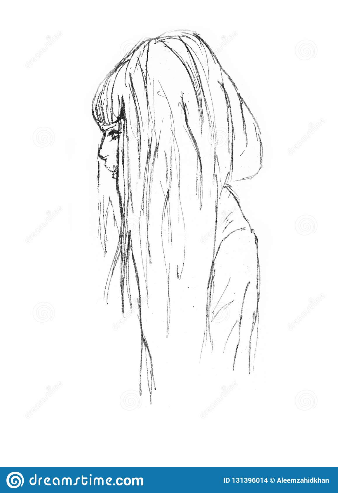 Bello ritratto disegnato a mano della ragazza -
