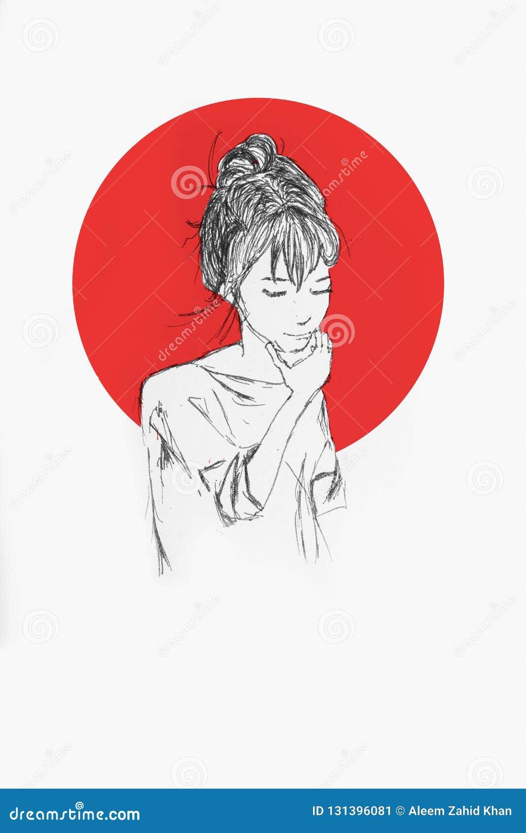 Bello ritratto disegnato a mano della ragazza