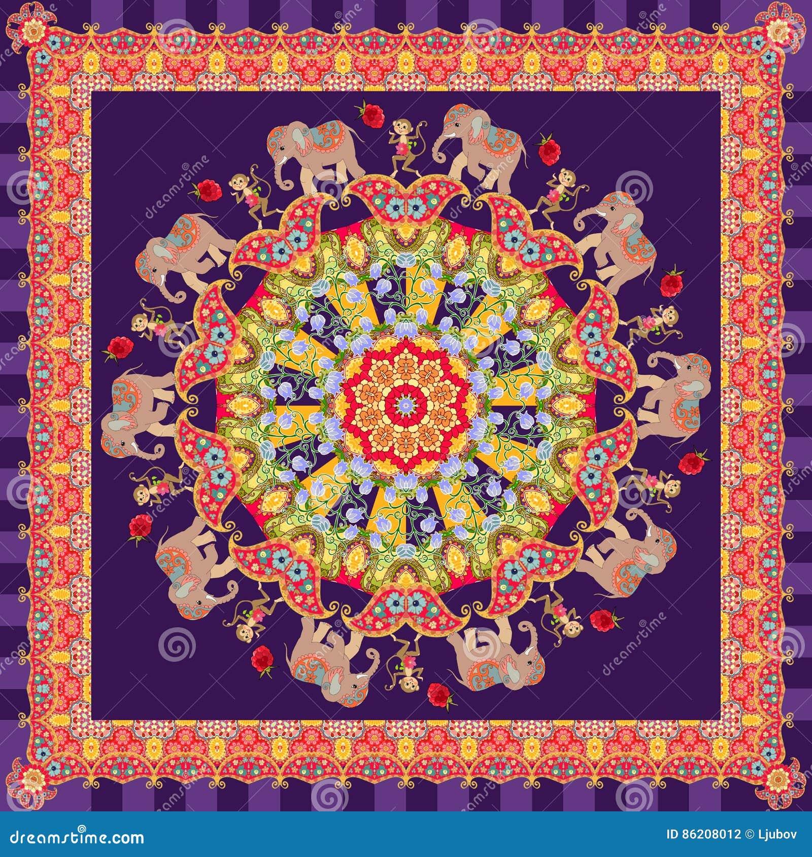 codici promozionali prezzo all'ingrosso lotta Bello Scialle Con Il Fiore - Mandala, Elefanti Svegli Del Fumetto ...